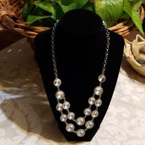 Double Strand Faux Silver/Round Diamond Necklace